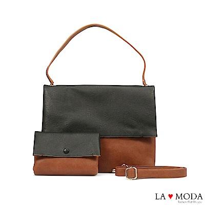 La Moda經典品牌Look設計款拼接撞色肩背斜背子母包(黑/棕)