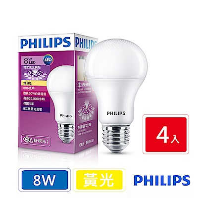 飛利浦 PHILIPS 第7代 舒視光 8W LED燈泡-黃光4入組