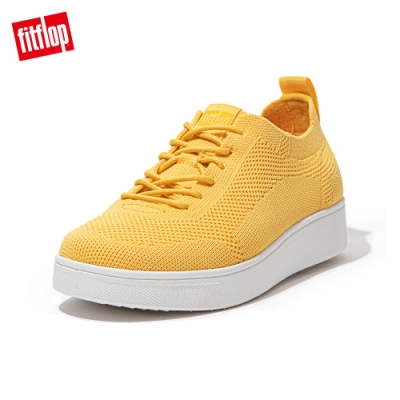 FitFlop RALLY TONAL KNIT SNEAKERS-繫帶針織休閒鞋 女(陽光黃)