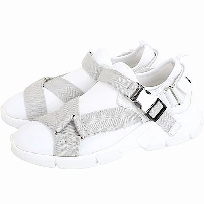 PRADA Neoprene 潛水布料織帶釦運動鞋(女款/白色)
