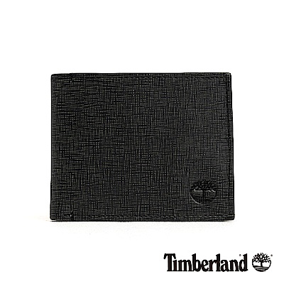 Timberland 男款炭灰色皮革壓紋多層短夾|A1DRQ