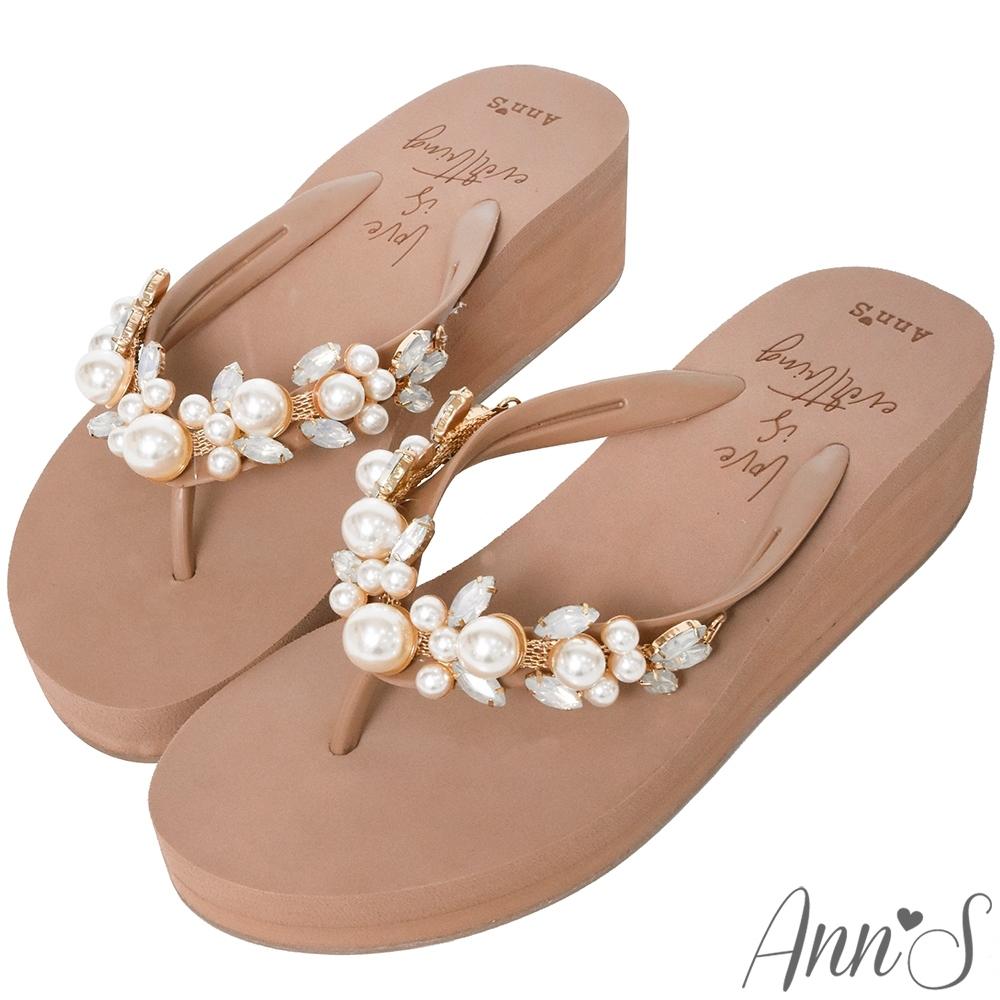 Ann'S氣質珍珠水鑽厚底夾腳涼拖鞋