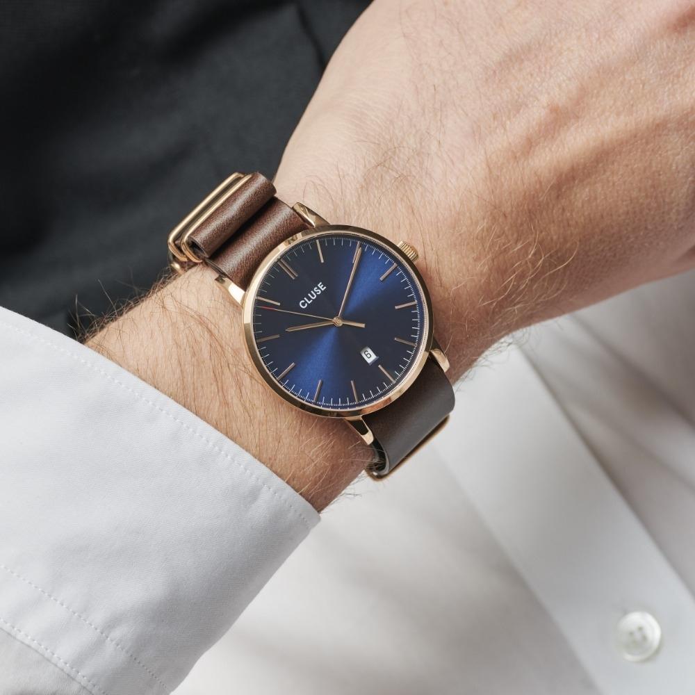 CLUSE Aravis 男款系列腕錶(玫瑰金框/深海藍錶面/咖啡色皮革錶帶) 40mm
