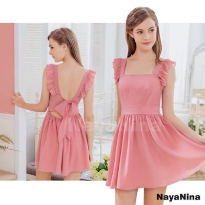 Naya Nina 粉紅荷葉小蓋袖美背連身洋裝睡裙-粉F