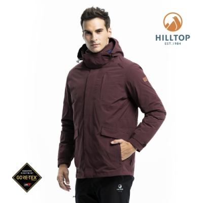 【hilltop山頂鳥】男款GORE-TEX防水羽絨短大衣F22MZ7暗紅色