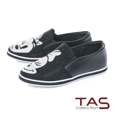 TAS閃耀滿版造型水鑽牛皮懶人休閒鞋-時尚黑