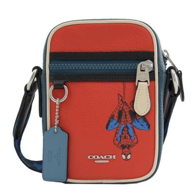 COACH Marvel聯名Spider-Man牛皮迷你斜背包(紅)