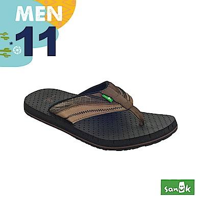 SANUK 男款US11 皮革拼接寬帶人字拖鞋(咖啡色)