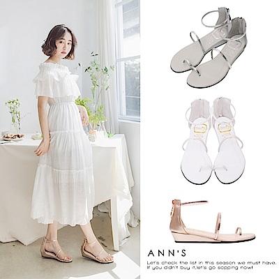 Ann'S極致舒適仙女光澤顯瘦坡跟涼鞋-三色