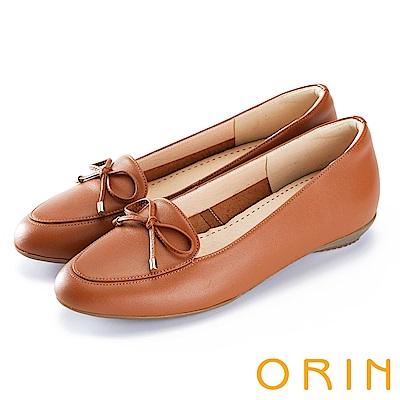 ORIN 氣質甜美風 嚴選高優質牛皮百搭平底鞋-棕色
