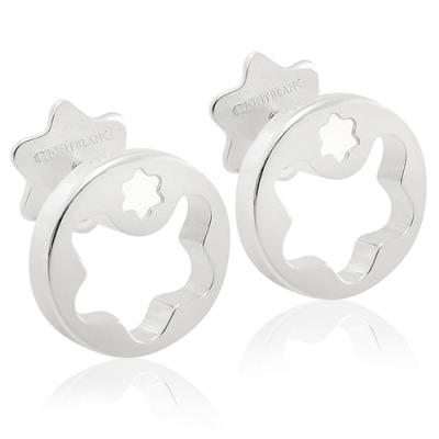 MONT BLANC 萬寶龍 鏤空六角星墜飾純銀耳環