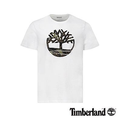 Timberland 男款白色品牌大樹迷彩LOGO短袖T恤|A1ZWN