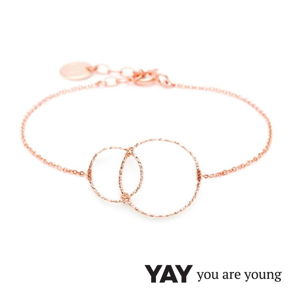 YAY You Are Young Fruits Dor 雅果無限手鍊 玫瑰金髮絲紋