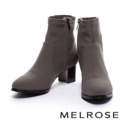 短靴 MELROSE 簡約車縫線設計彈力網布粗高跟短靴-可可