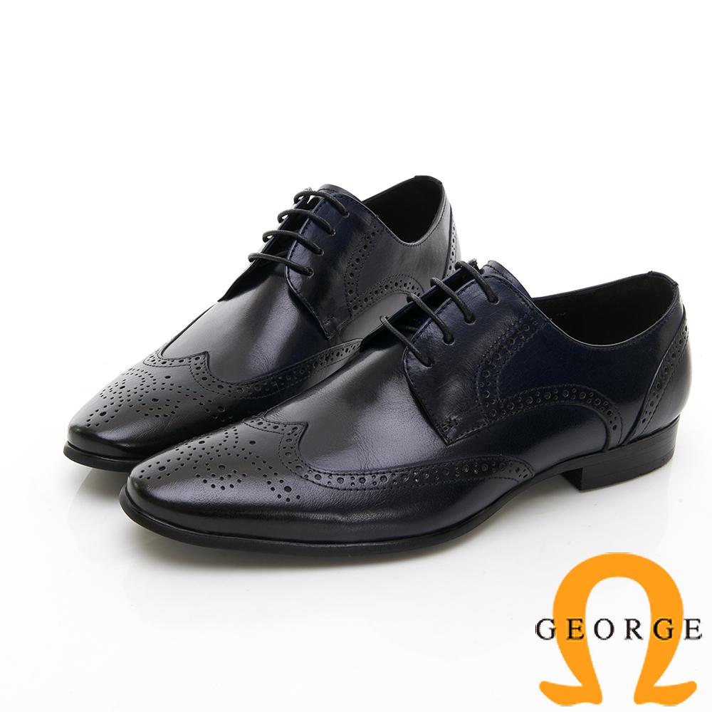 【Amber】尊爵時尚 雕花綁帶紳士皮鞋-黑色