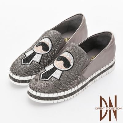 DN 電繡圖樣 真皮燙鑽縫線厚底休閒鞋-銀灰