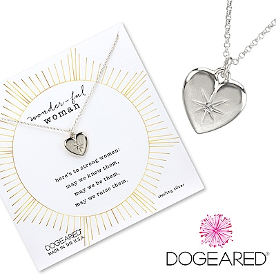 Dogeared Crystal Heart 鑲鑽光芒星星X立體銀色愛心項鍊 美麗的力量
