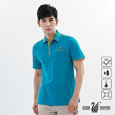 【遊遍天下】男款吸濕排汗抗UV機能POLO衫GS1039藍黃