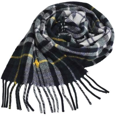 RALPH LAUREN POLO 小馬刺繡LOGO蘇格蘭格配羊毛圍巾(綠格/黃馬)