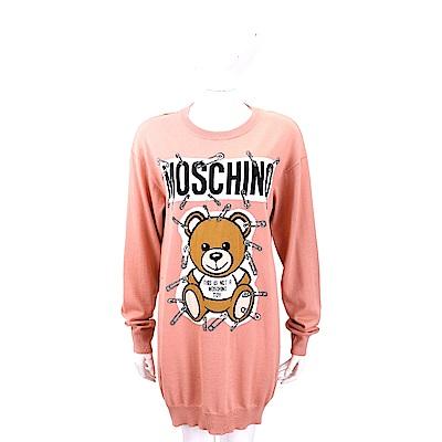 MOSCHINO 別針泰迪熊印花粉色長版羊毛衫