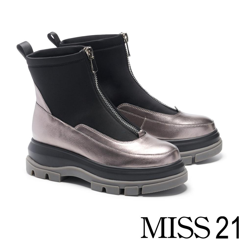 短靴 MISS 21 個性未來感異材質拼接中央鍊設計厚底短靴-古銅