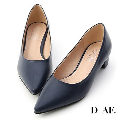 D+AF 知性簡約.素面顯瘦尖頭中跟鞋*藍
