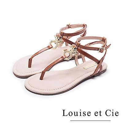 Louise et Cie 鳳梨金屬扣平底夾腳涼鞋-棕色