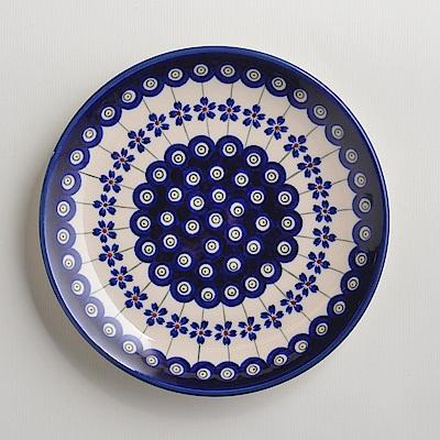 波蘭陶手工製 藏青小卉 淺底圓形餐盤19cm
