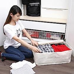創意達人xUdlife棉麻覆蓋全開式收納箱2入組