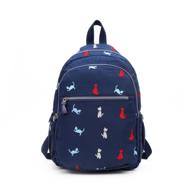CABACI 淘氣小貓繡線輕量防潑水後背包-藍色