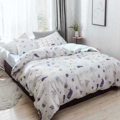 A-ONE 100%純棉-清新E系列-雙人床包/枕套組-海底漫遊