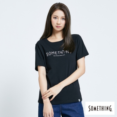 SOMETHING 平針繡LOGO 短袖T恤-女-黑色