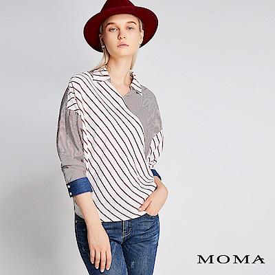 限時商品 | MOMA 條紋拼接牛仔上衣