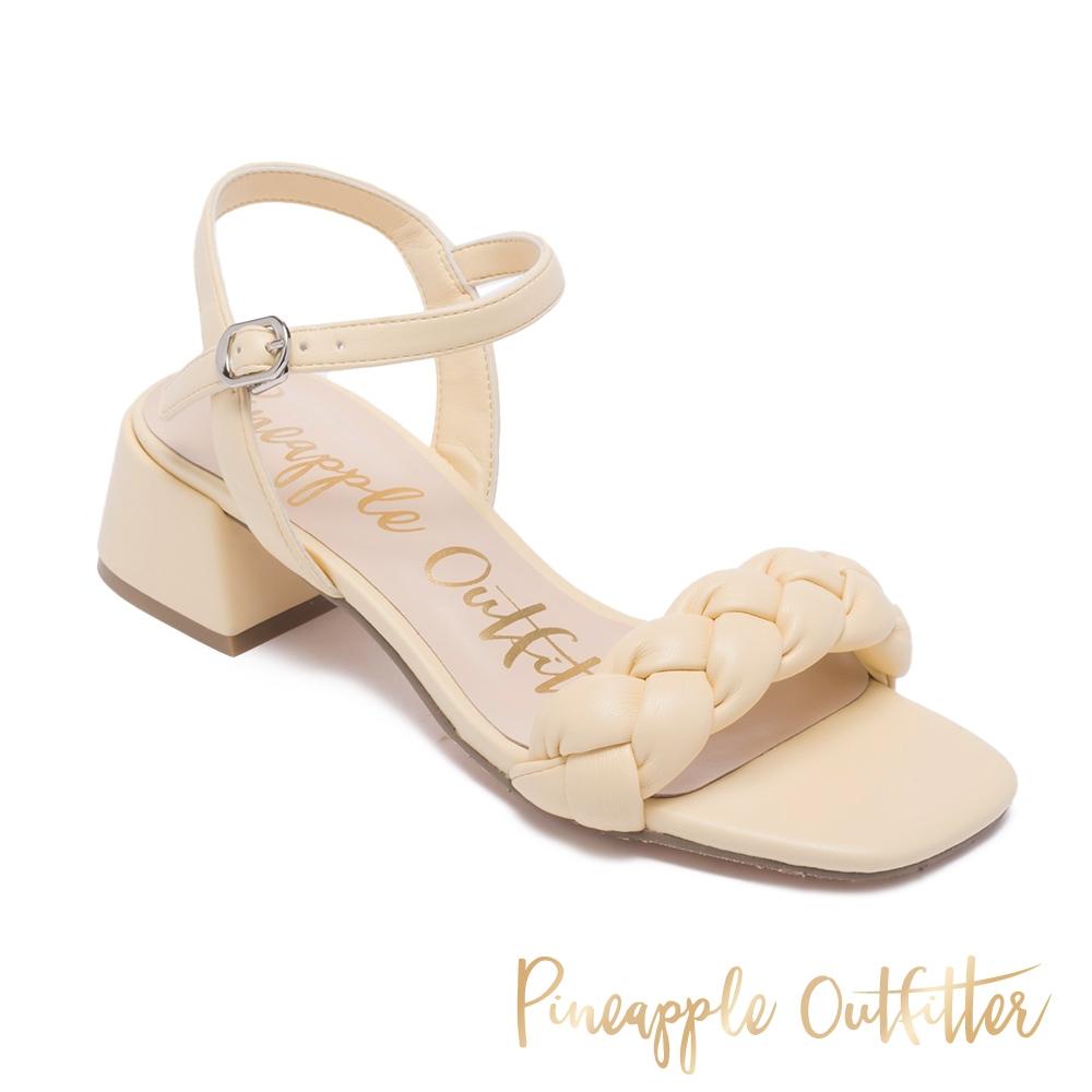 Pineapple Outfitter-ILLISA 時髦編織休閒中跟涼鞋-淺黃