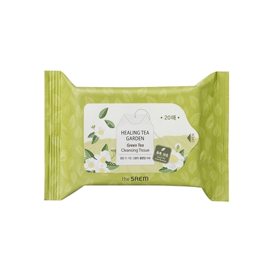 【韓國the SAEM】得鮮-療癒茶園綠茶卸妝濕巾(20抽)