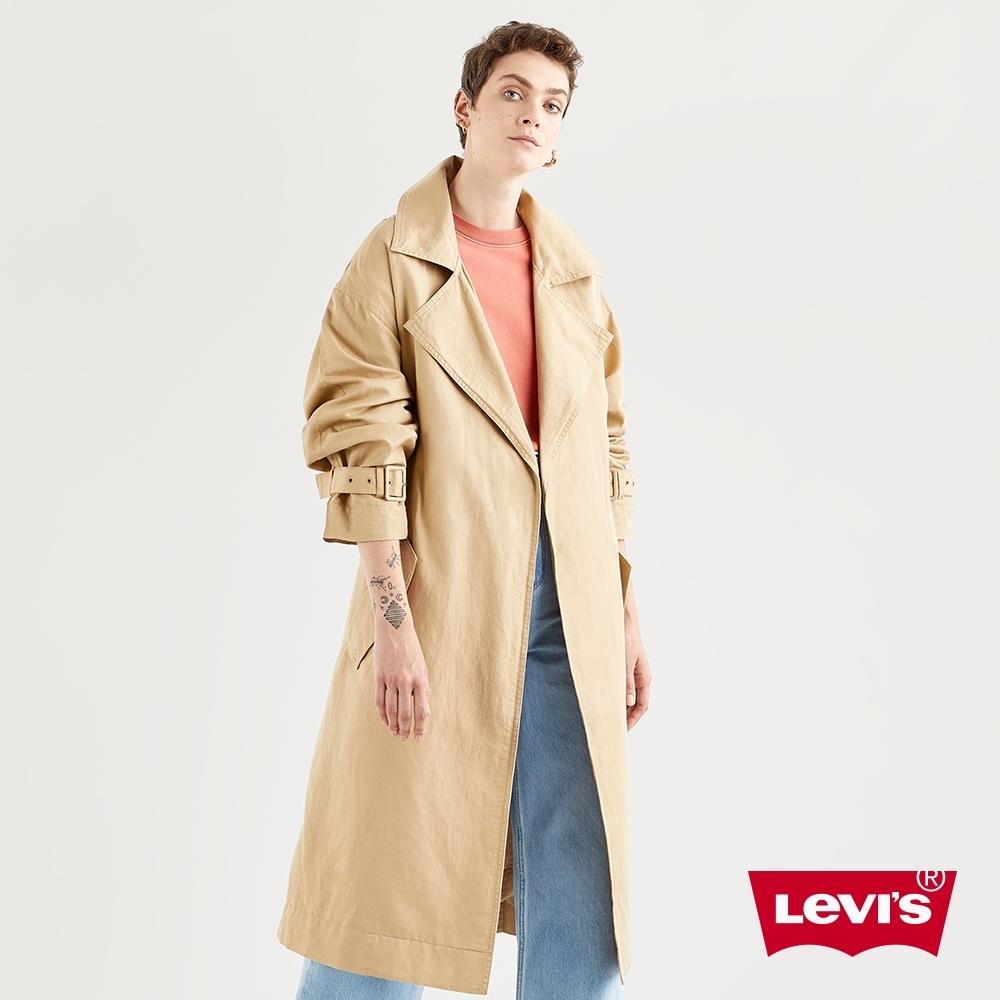 Levis 女款 長版歐式卡其風衣外套 腰間綁帶 袖口軍裝細節 春夏形象款