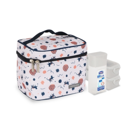 樂扣樂扣 創意便當野餐袋3入組(PP保鮮盒x2+水瓶300ML)-深藍貓咪(快)