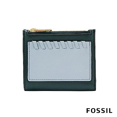FOSSIL Shelby 真皮系列兩折拉鍊短夾-深綠/粉藍