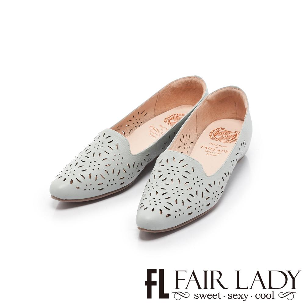 Fair Lady懶骨頭 花漾縷空內增高尖頭平底鞋 水藍