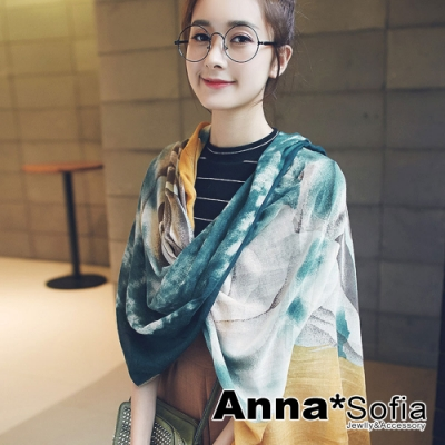 【2件450】AnnaSofia 暈染灑點玫瑰 拷克邊韓國棉圍巾披肩(黃青系)