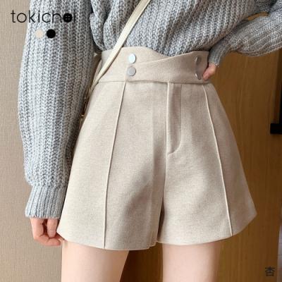 東京著衣 韓國熱賣高腰雙排釦立體剪裁短褲-S.M.L