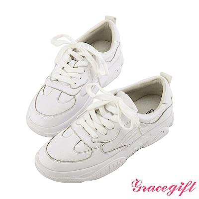 Grace gift-真皮復古厚底休閒鞋 白