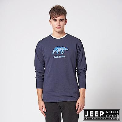 JEEP 3D北極熊圖騰休閒長袖TEE -深藍色