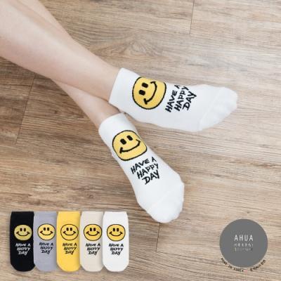 阿華有事嗎 韓國襪子  HAPPY DAY笑臉短襪 韓妞必備短襪 正韓百搭卡通襪