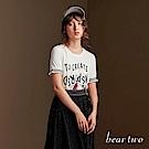 beartwo 手寫文字運動風短袖針織造型上衣(兩色)