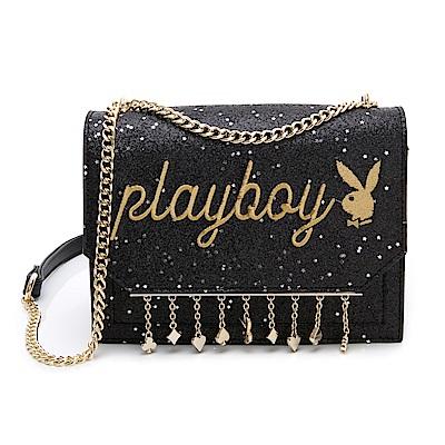 PLAYBOY- 鏈帶斜背包 星空撲克系列-黑色