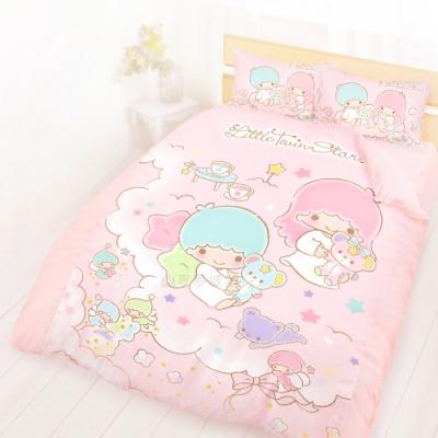 享夢城堡 精梳棉雙人床包薄被套四件組-雙星仙子Little Twin Stars 小熊扮家家-粉