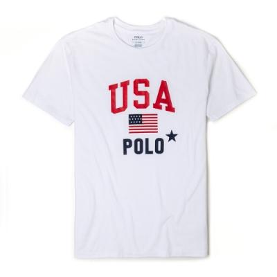 Polo Ralph Lauren 經典印刷美國國旗系列短袖T恤-白色