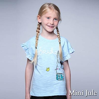 Mini Jule 童裝-上衣 網紗波浪兔子短袖上衣(藍)