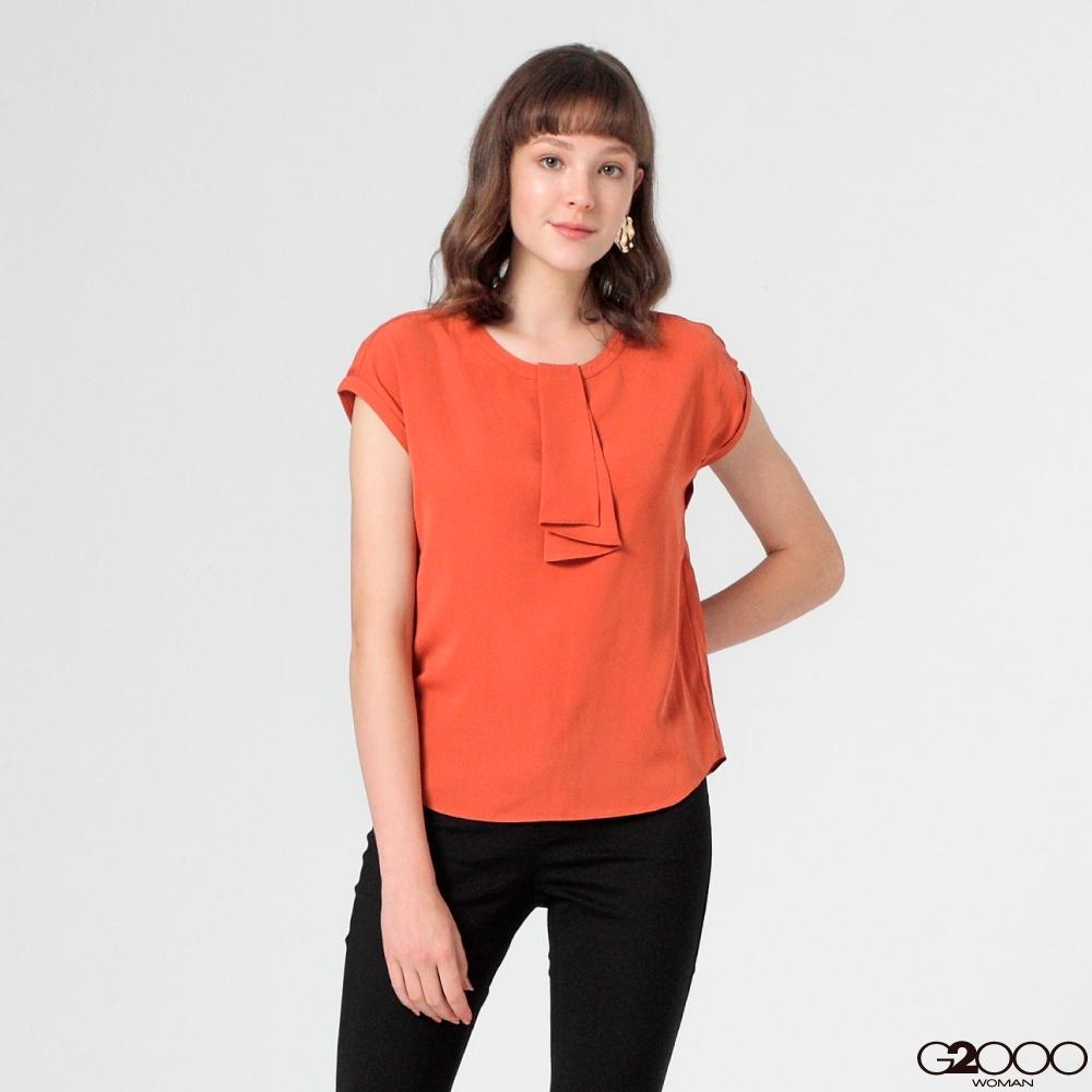 G2000素面短袖休閒上衣-橘色